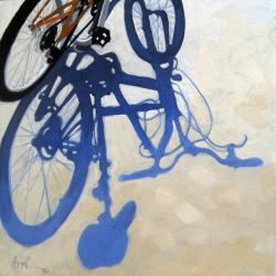 BICYCLE BLUE SHADOWS city still life art  Original Oil Painting by L. Apple